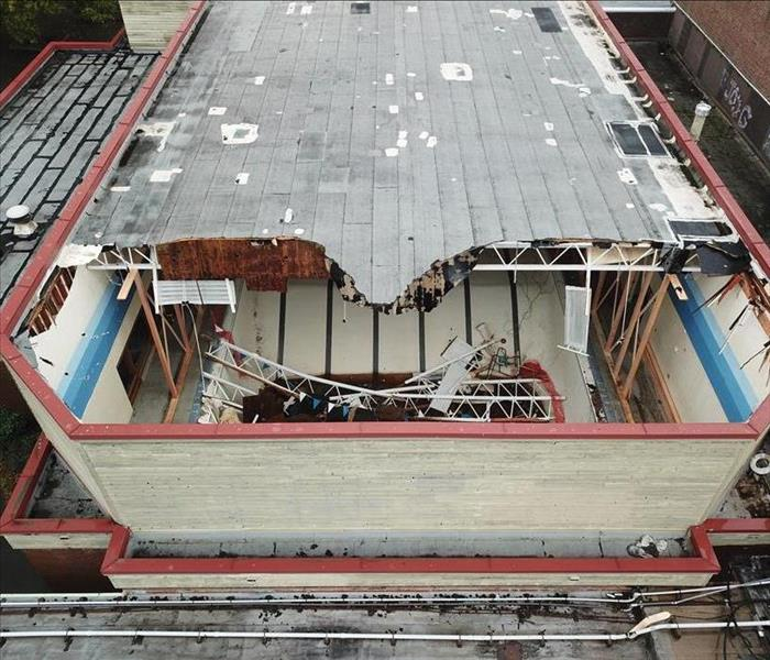 Roof collapse at local school