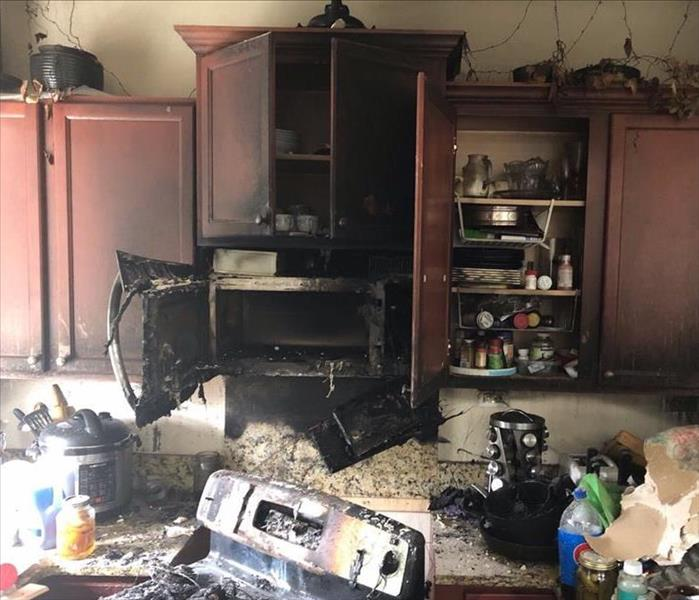 burned microwave and stove