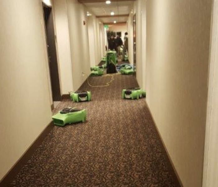 Drying equipment set up in a hallway